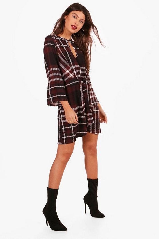 Checked Tie Waist Woven Dress