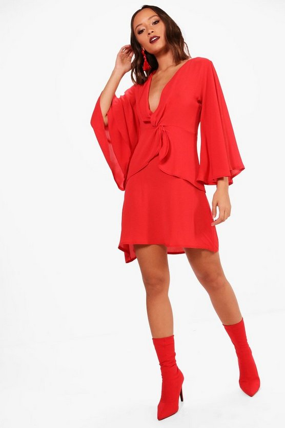 Ari Angel Sleeve Plunge Twist Frill Shift Dress