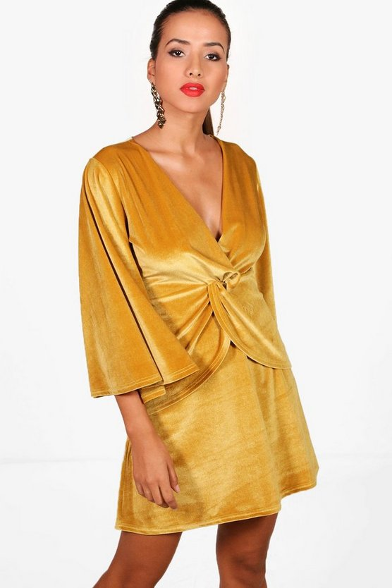 Angel Sleeve Twist Front Velvet Shift Dress