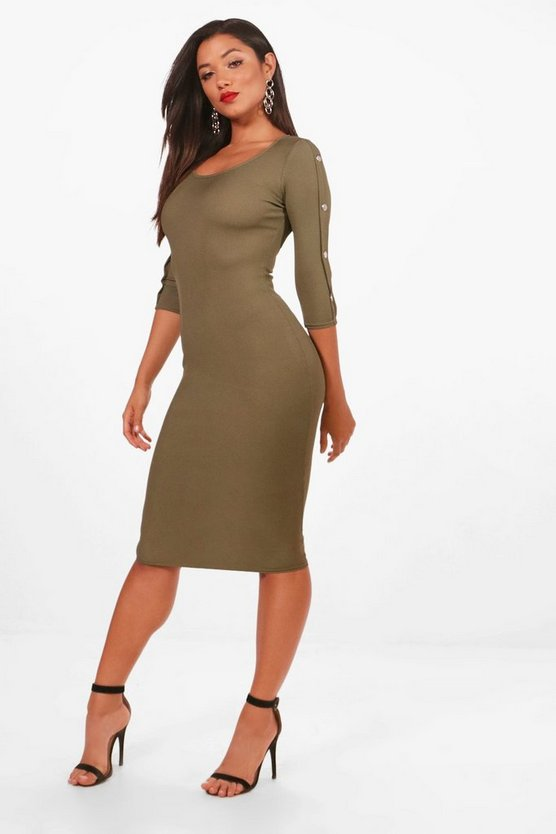 Ayn Popper Sleeve Detail Ribbed Midi Dress