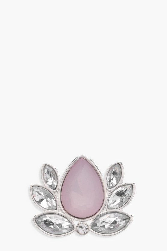 Leah Diamante Teardrop Flower Ring