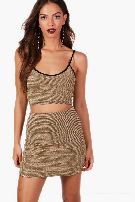 Polly Metallic Rib Strappy Top and Skirt Co-ord