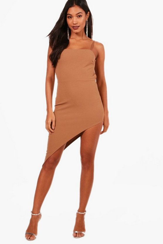 Strappy Tie Back Asymmetric Midi Dress
