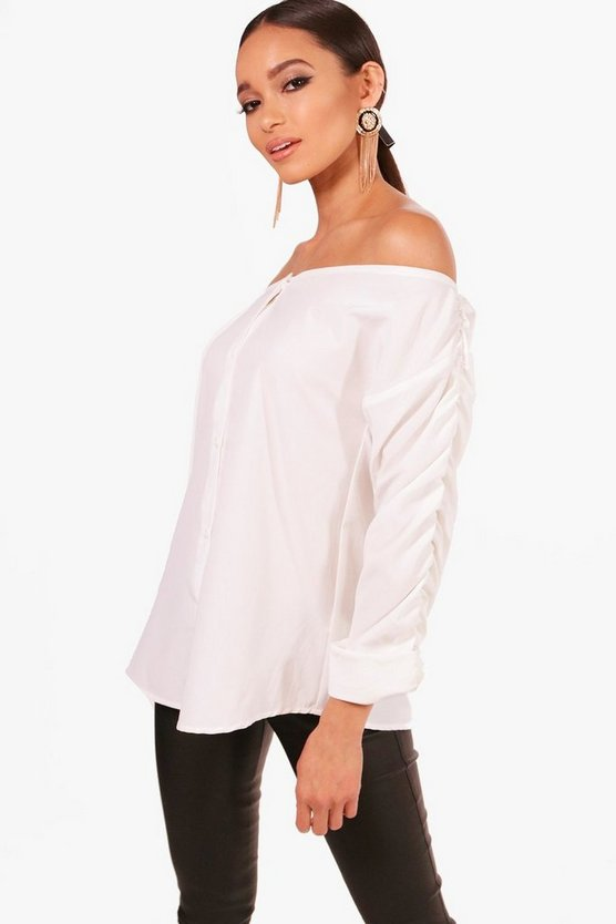Annabel Ruched Sleeve Bardot Shirt
