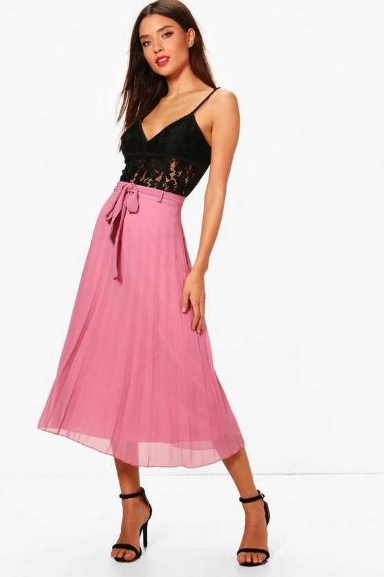 Louise Woven Pleated Tie Waist Midi Skirt