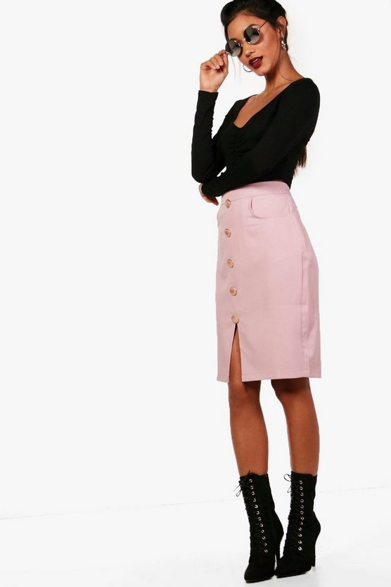 Rosie Woven Button & Pocket Midi Skirt