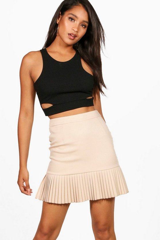 Alba Woven Mini Box Pleat Mini Skirt