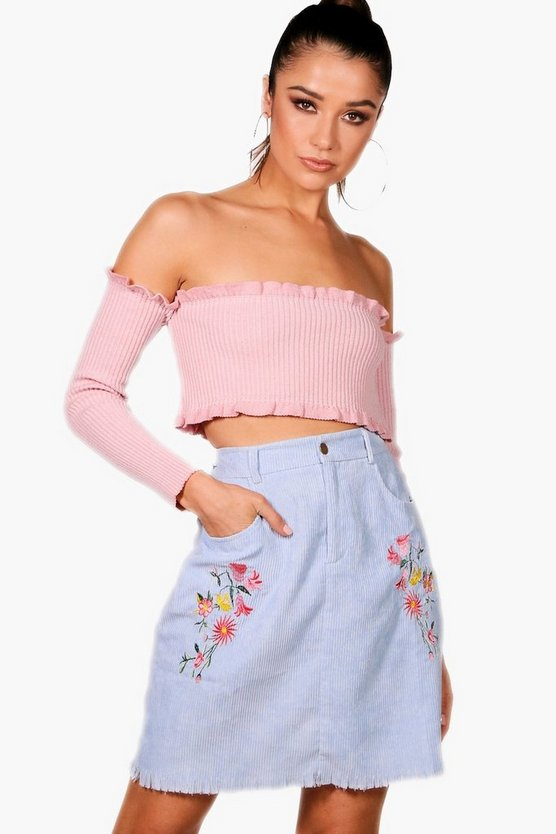 Cord Embroidered Woven Mini Skirt