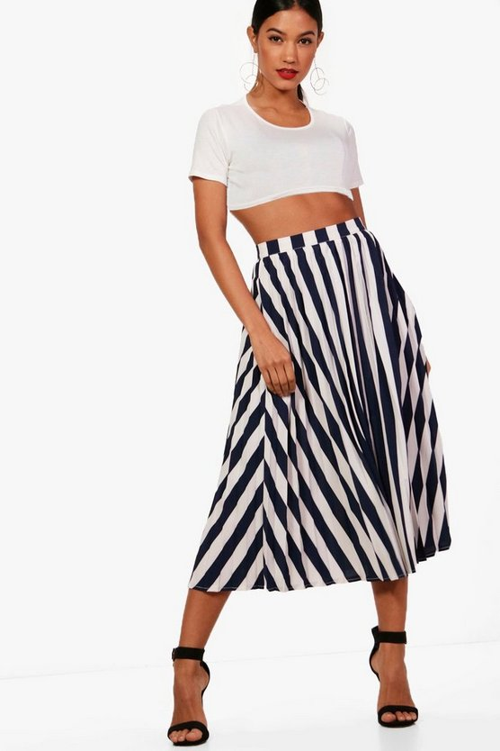 Lori Woven Pleated Stride Midi Skater Skirt