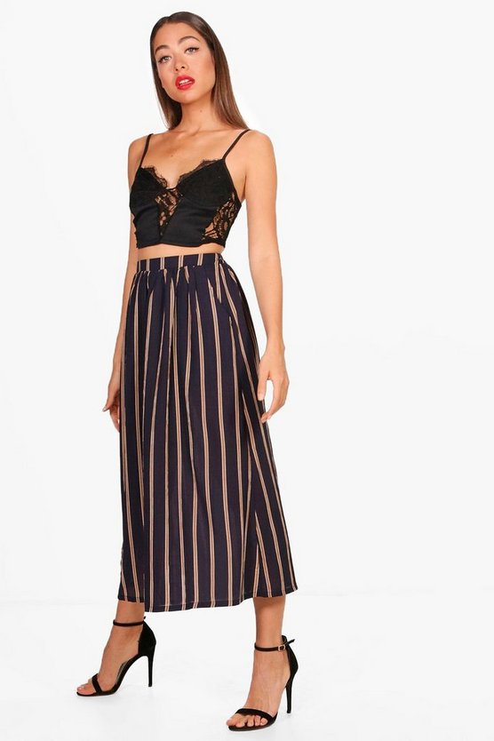 Liana Woven Stripe Pocket Midi Skirt