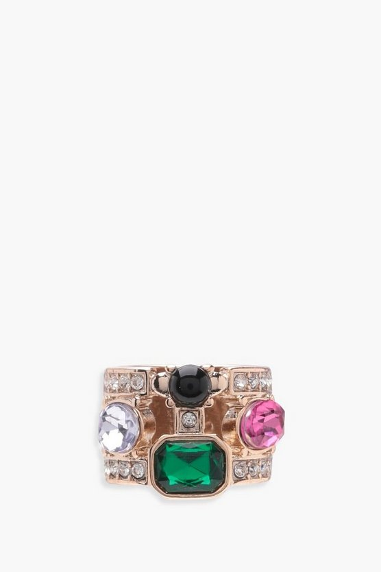 Julia Rainbow Stone Statement Ring