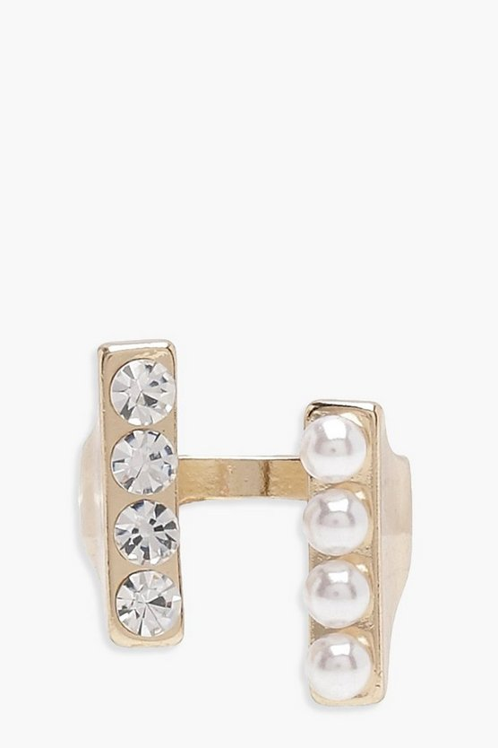 Lola Faux Pearl And diamante Double Bar Rings