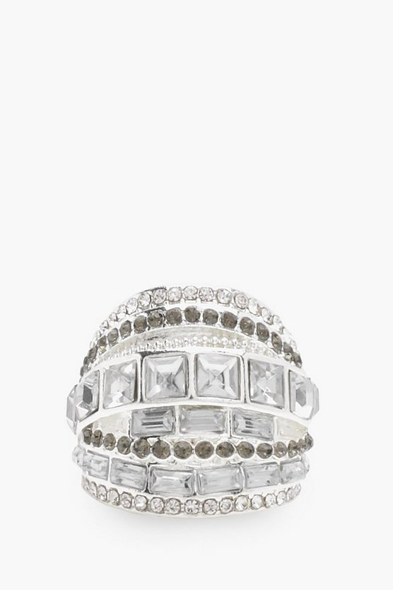 Heidi Chunky Diamante Layer Statement Ring