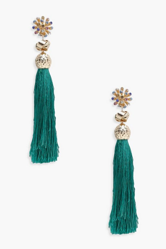 Maya Flower And Knot Tassel Earrings