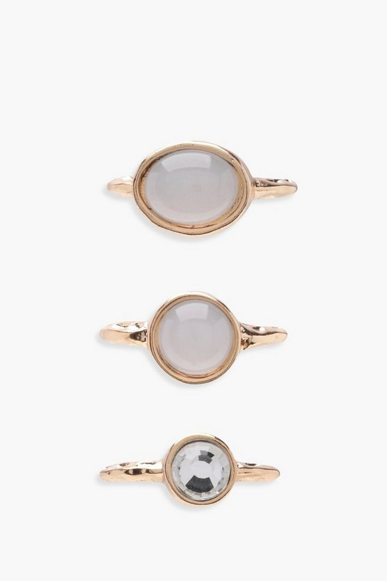 Martha Moonstone And Diamante Layer Rings