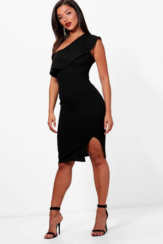 Lauren One Shoulder Split Midi Dress