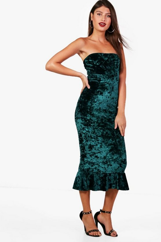 Rachel Crushed Velvet Bandeau Midi Dress