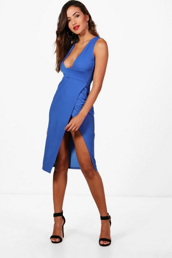 Plunge Neck Super High Split Midi Dress