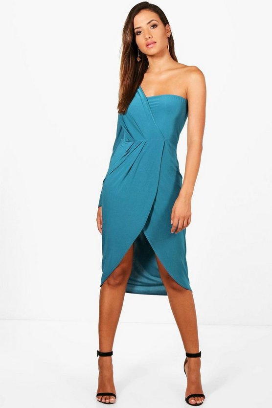 Slinky One Shoulder Wrap Midi Dress