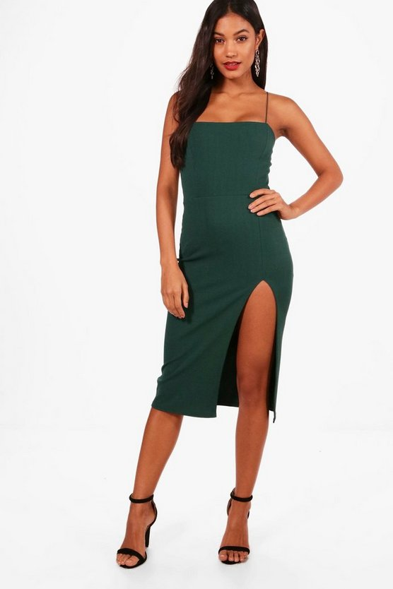 Crepe Square Neck Side Split Midi Dress