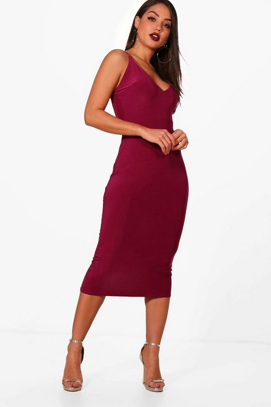 Strappy Plunge Detail Midi Dress