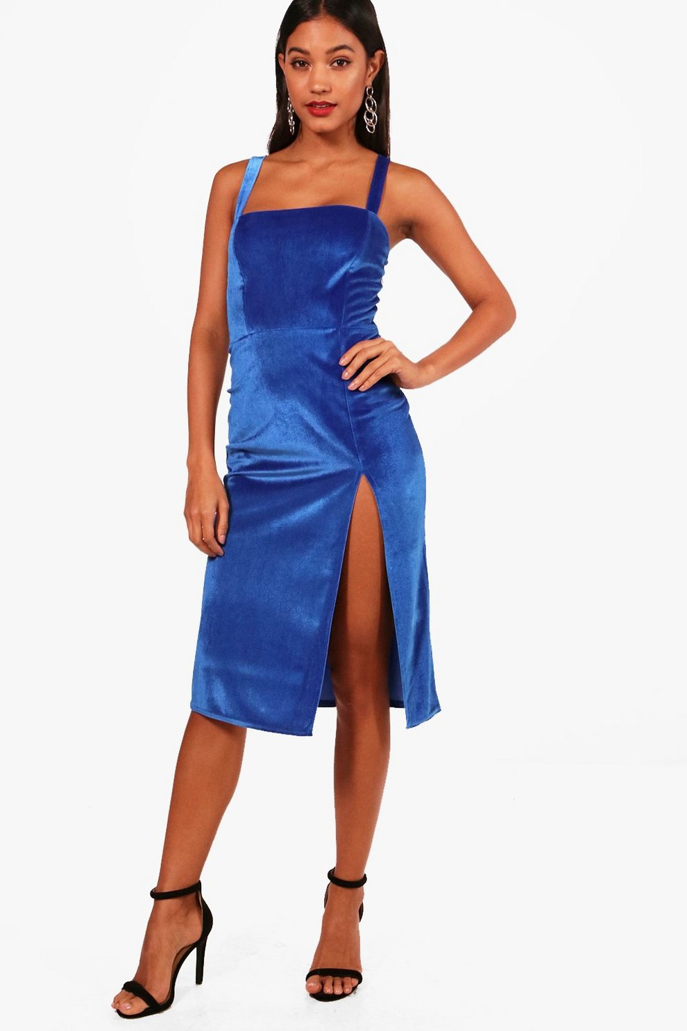 View Cheap Price Boohoo Velvet Strappy Split Leg Midi Dress Extremely Cheap Price Cheap Sale With Paypal Popular Excellent HuPgE8z
