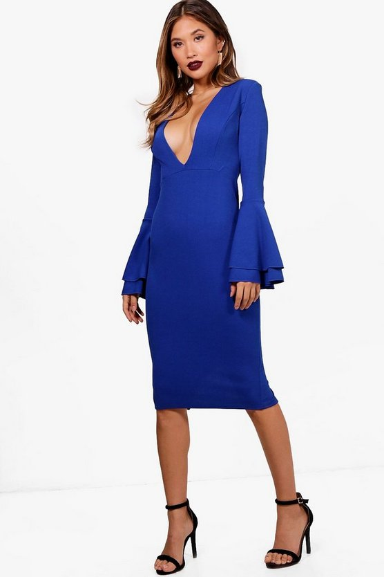 Charley Plunge Triple Frill Sleeved Midi Dress