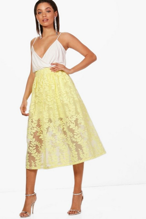 Kelly Embroidered Sheer Woven Midi Skirt