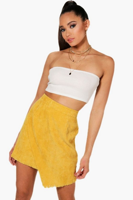 Cord Fray Hem Wrap Mini Skirt