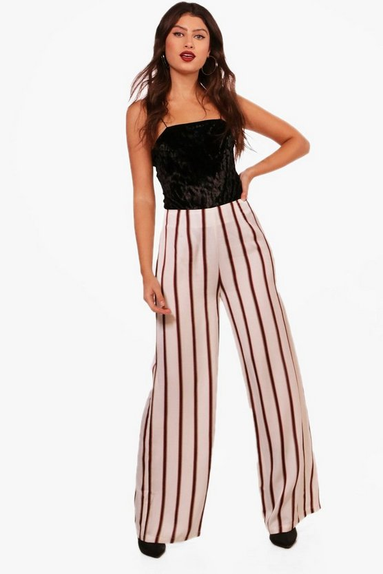 Woven High Waist Wide Leg Trouser