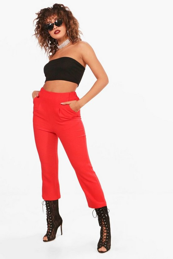 Woven Cropped Slim Flare Trouser