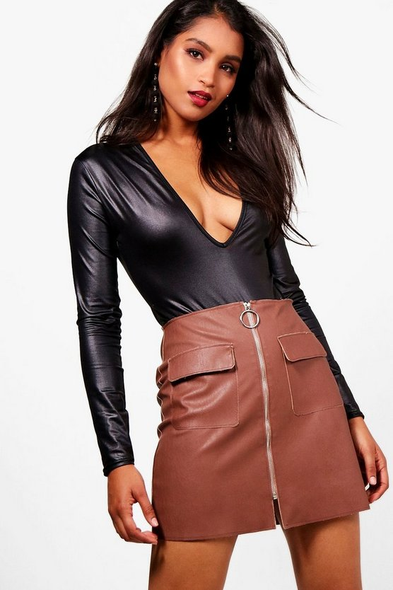 Olivia PU Pocket And Zip Woven Mini Skirt