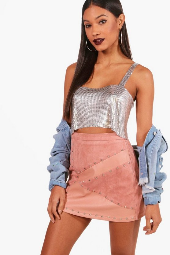 Beth PU Suedette Fabric Mix Stud Mini Skirt