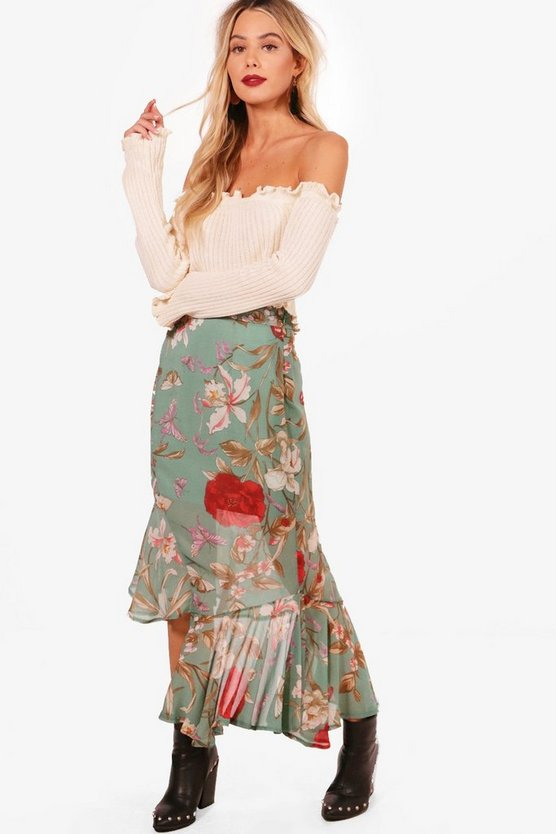 Lucy Woven Asymetric Hem Floral Midi Skirt