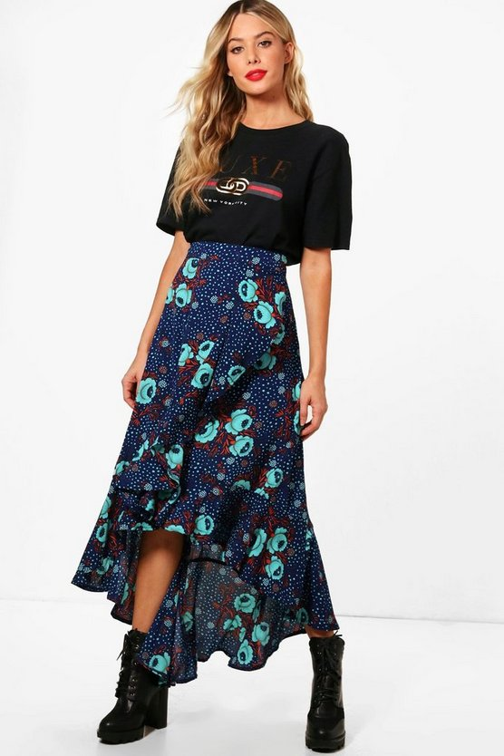 Woven Floral Frill And Wrap Midi Skirt
