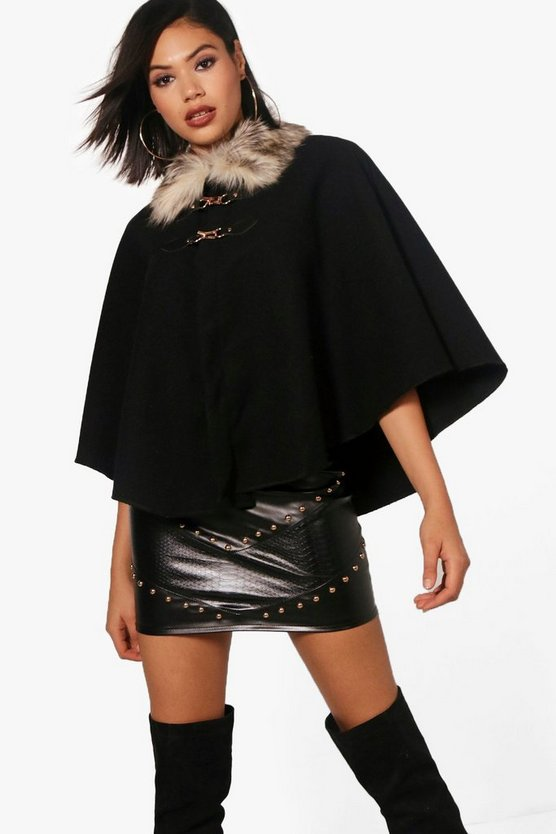 Naomi Faux Fur Collar Cape