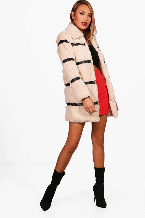 Skye Stripe Faux Fur Coat