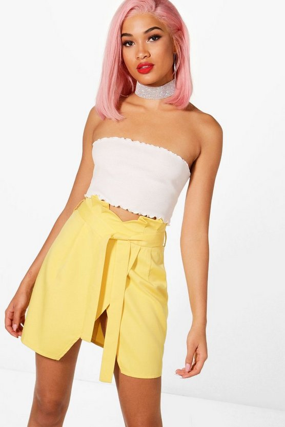 Clara Woven Paperbag & Wrap Mini Skirt