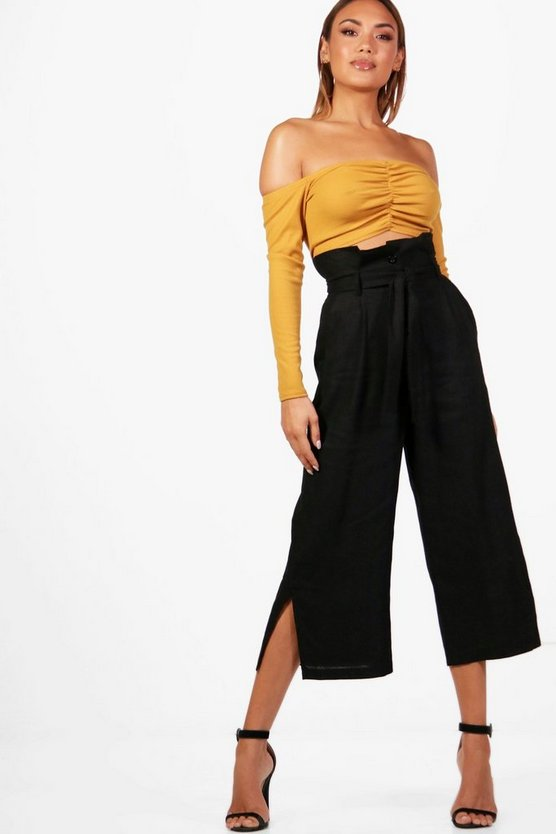 Woven Utility Paperbag Waist Culottes