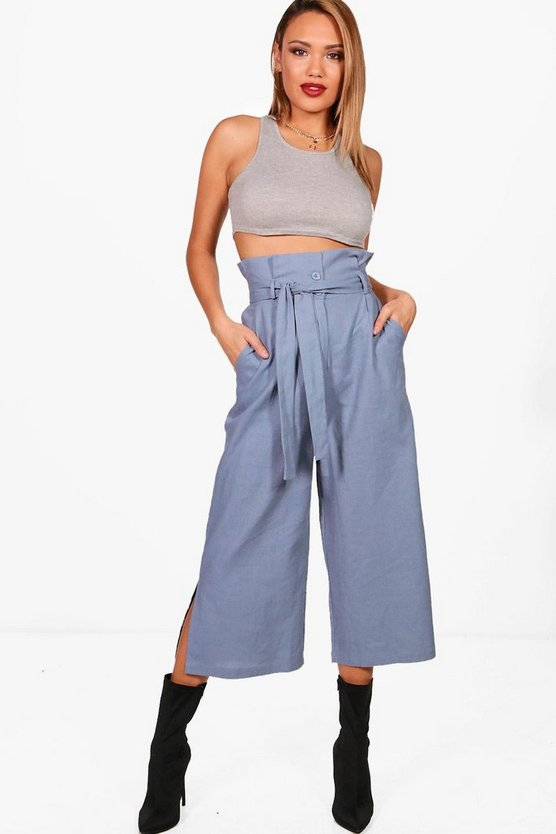 Mara Woven Utility Paperbag Waist Culottes