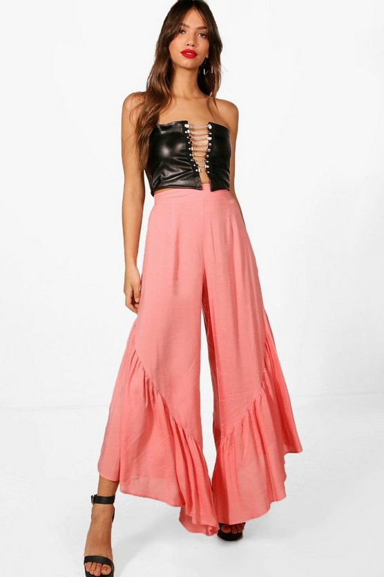 Penny Woven Ruffle Hem Extreme Culotte