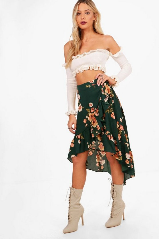 Adeline Woven Ruffle & Wrap Floral Midi Skirt