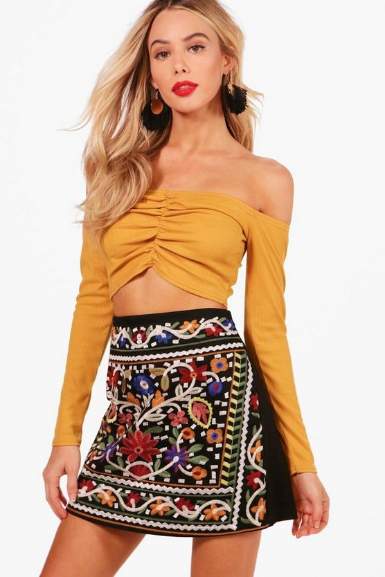 Woven Full Embroidered Mini Skirt