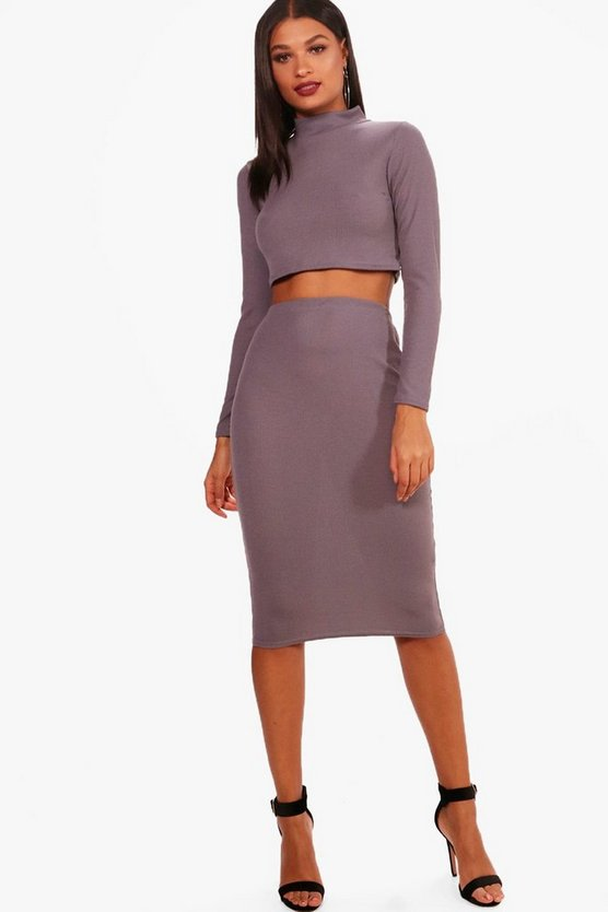 Turtle Neck Midi Shirt Set