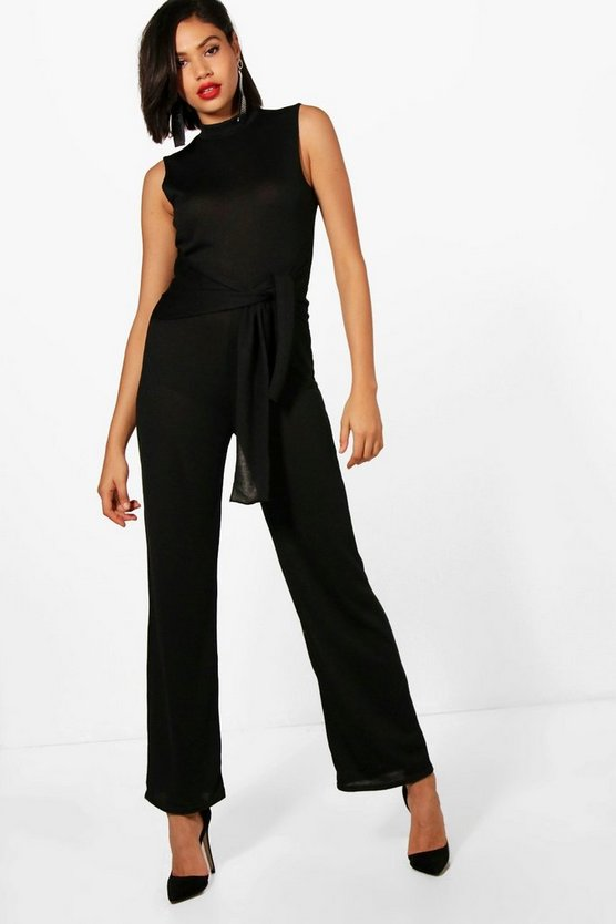 Aimee Tie Waist Wide Leg Knitted Jumpsuit