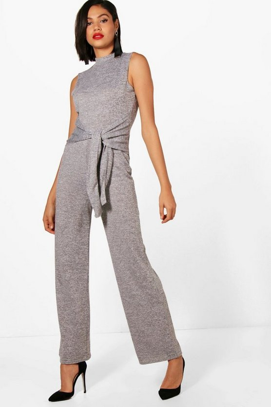 Tie Waist Wide Leg Knitted Jumpsuit