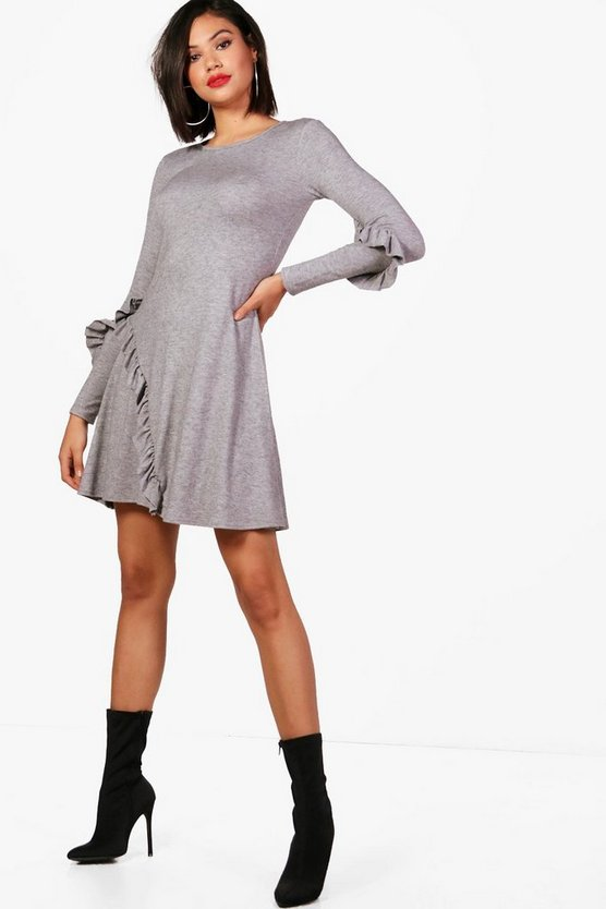 Kaye Micro Ruffle Detail Swing Dress Knitted