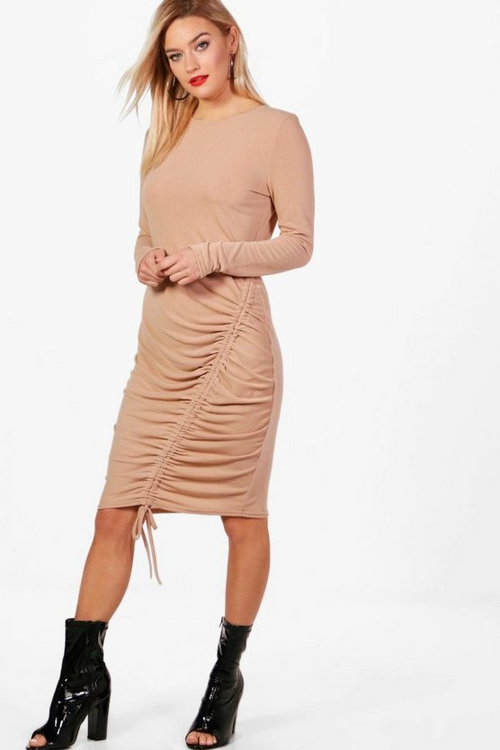 Long Sleeve Rouched Front Midi Dress