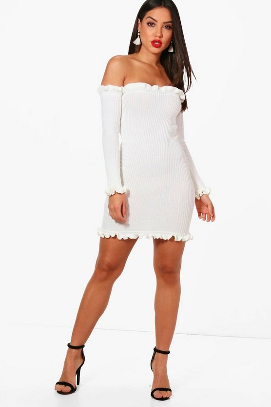 Rebecca Knitted Rib Ruffle Detail Mini Dress