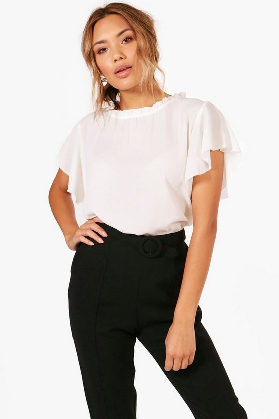 Lily Woven Frill Sleeve And Neck Blouse